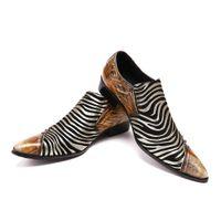 ingrosso abiti da sposa zebra-Scarpe da sera per uomo formali fatte a mano alla moda Scarpe da sera per le donne da sera in pelle con zeppa con borchie e zeppe in vera pelle