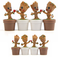 Wholesale action figure design - 4 Designs Tree Man Anime Figure Carved Wood Sprites Action Figures Collectible Toys PVC Guardians Galaxyest Gift for Children AAA338