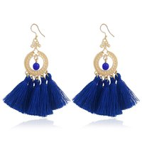 Wholesale Colored Earring Studs - 2017 Fashion Boho Tassel Earring Vintage Bohemia Women Jewelry New Year Gift Free Shipping 4 Colored Tassel Earrings OG000758YD