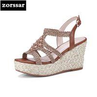 ingrosso sandali donna bohemien-{Zorssar} 2018 Bohemian style ladies Sandali con zeppa Summer Womens Shoes Appartamenti sandali con plateau Fashion Scarpe da donna
