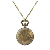 Wholesale Bronze Rooster - Vintage Chinese Zodiac Rooster Pattern Pendant Pocket Watch Necklace Watch with Chain (Large)