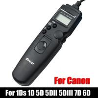 camaras 6d al por mayor-venta al por mayor TC-80N3 LED Selfie LCD Temporizador de control remoto Shutter Release Cable para Canon EOS 1Ds 1D 5D 5DII 5D III 7D 6D cámara DSLR