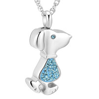 Wholesale urns for dogs resale online - Crystal pet cremation urn jewelry stainless steel dog cremation lockets for ashes