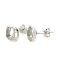 anillo de boda conjunto amortiguador al por mayor-Anillo de boda de plata de ley 925 anillo de bodas 6x6mm Cabochon semi anillo de montaje anillo de mujer de piedra de DIY anillo del partido