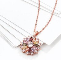 Wholesale Morganite Crystal - Free shipping Wedding Gift Pendants Necklace Rose Gold Plated Gemstone Mix Cubic Zircon Garnet Morganite Chain 18+2.5 inch KZCN088
