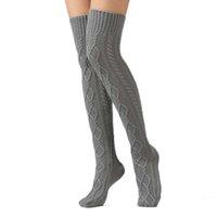 örme çizme çorapları toptan satış-Kadınlar Yüksek Kaliteli Boot Çorap Kadın Kış Sıcak Kapalı Ev Çorap için Örme çorap