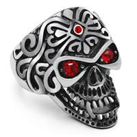 terminador rojo al por mayor-Punk Skeleton Lord Cráneo anillo de acero inoxidable con ojos de piedra roja para hombre Riker Biker Anillos Terminator moda joyería de Halloween