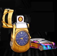 Wholesale rechargeable usb watch lighter resale online - Electric Lighter windproof USB Cigarette lighters rechargeable metal watch sports car novetly lighter Smoking Tool color Christmas Gift