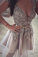 Wholesale shiny short pink dress for sale - Group buy 2018 New Shiny Homecoming Dresses Short Sleeves Luxury Beaded Sequins Sheer Neck Cocktail Party Dress Sash Bow Formal Evening Gown BA9927