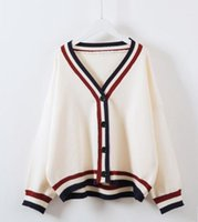 lose gestrickter kragen großhandel-Koreanische Frauen Streifen V Kragen Strickjacke stricken lose Mantel Jacke 2 Farbe