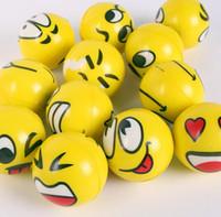 Wholesale finger ball toys resale online - 6 CM Funny Emoji Sponge Squeeze Stress Ball Wrist Finger Training Balls Soft Sponge PU Bouncy Ball Kids Novelty Toys Decompression toys