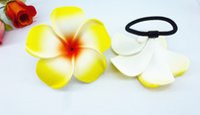 flores de espuma amarilla al por mayor-20 Nuevo color amarillo Espuma Hawaiian Plumeria flower Frangipani Flower bandas de pelo nupcial bandas elásticas 6 cm
