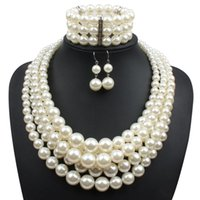 Wholesale women choker sets online - Red Imitation pearls Bridal Jewelry Sets Fashion Wedding Gift Classic Ethnic Luxury Collar Choker Necklace Bracelet Earring Sets for Women