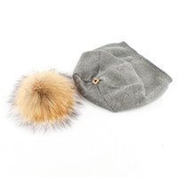 Wholesale Raccoon Hair - Spring fall winter hat new raccoon hair ball knit hats solid color wool cap outdoor warm hat Fluffy pure color skiing without hat