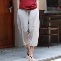 Wholesale cotton linen trousers women - Women Casual Pants Elastic Waist Cotton Linen Trouser Patchwork Loose 2018 New Brief Pockets Women Calf-Length Pants