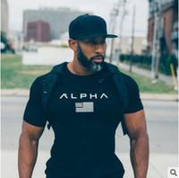 t-shirt da aptidão do gym do algodão venda por atacado-Ginásios de alta qualidade roupas de fitness t shirt homens moda verão top de manga curta t-shirt de algodão musculação homens