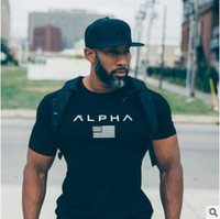 Wholesale guy shirts - high quality gyms clothing fitness t shirt men fashion summer top short sleeve t-shirt cotton bodybuilding muscle guys