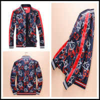 Wholesale brand jackets for women - 2018 High quality autumn red blue fashion designer luxury brand jacket for men striped hooded jackets coat women clothing Outerwear
