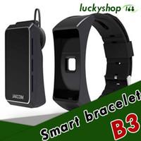 Wholesale Golden Earphones - 50X New Jakcom B3 Sports Smart wristband Smart Watch Support bluetooth earphone Sleeping heart rate monitor bracelet with retail box