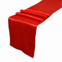 kırmızı ziyafet masası toptan satış-Toptan Yeni Ücretsiz kargo Düğün Parti Için 10 ADET kırmızı Saten Masa Koşucu Ziyafet Masa Süslemeleri Şekeri