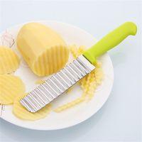 Wholesale wave cutter - 1pc Creative Potato Shredders Slicers Stainless Steel Waves Crinkle shape Cutter Non Slip Vegetable Chips Kitchen Knife Tool 2 89jd Z