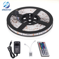 Wholesale led color changing strip - LED 5050 RGB Strip 300LEDs Flexible Color Changing Full Kit LED Strips Light with 44 Keys IR Remote Controller,12V 3A Power Supply