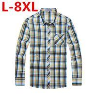 Wholesale Thickening Plaid Shirt - plus size 8XL 6XL 5XL 4XL 2017 New Men Thickening Imitation Wool Plaid Shirt Lapel Leisure Long-sleeved Shirt Camisa Masculina