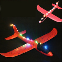 Wholesale toy foam airplane gliders resale online - 48cm LED Airplane Hand Launch Throwing Glider Aircraft Inertial Foam EPP Foam Airplane Toy Plane Model Outdoor Toy Educational Toys H367