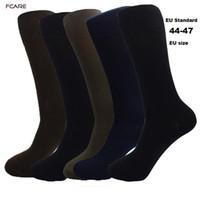 ingrosso calzini marroni per gli uomini-Fcare 10PCS = 5 paia di pantaloni lunghi da uomo plus size 44-47 crew men cotone nero, blu, marrone e verde militare calzini