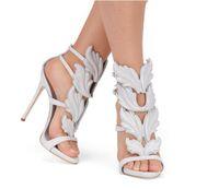 ingrosso sandali neri ali d'oro-2017 Designer Flame metal leaf Wing Sandali con tacco alto Oro Nude Black Party Events Shoes Size 35 - 42