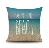 Wholesale happy hotels - Marine Style Sea Beach Blue Sky Happy Place Cushion Cover Pillowcase Sofa Decorative Linen Pillow Covers