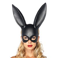Wholesale Bunny Halloween Costumes - Rabbit mask fashion easter masquerade mask bunny rabbit face mask height long 36cm for birthday party easter halloween costume