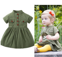 Wholesale Double Ruffled Shorts - INS Little girls dress summer new toddler kids short sleeve double pocket pleated dress children army green princess dress Y0806