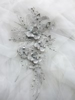 Wholesale garment flowers resale online - MEETEE D cloth patch stickers Lace gown Applique Embroidered Flower Fabric gauze Trim For Decorate Wedding Dress Veil Garment Accessories