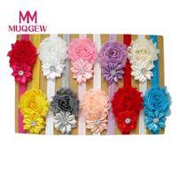 blumenartikel großhandel-5pcs / 10pcs reizendes Haarband-Baby-Mädchen-Stirnbänder Chiffon- Haar-Blume Einzelteil-Art Hauptband Zusätze für Baby # N25