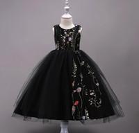 siyah pembe resmi elbiseler toptan satış-Nakış Çocuklar Gelinlik 4-15 Yaşında Çiçek Kız Örgün Balo Balo Elbise Siyah Mavi Pembe Beş renkler
