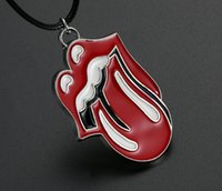 Wholesale badges automobiles - Car Pendant JDM Metal Red Lip Tongue Hanging Ornament Fashion Rock Band Badge Automobiles Rearview Mirror Decoration Accessories