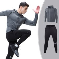 Wholesale mens sports winter clothes - Winter New Running Set Men Cool Quick Dry Mens Sport Suit Fitness Tight Gym Clothing Training Suit Workout Men's Sportswear