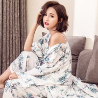 8f3175dc5c Summer Pajamas Sets Women fashion Bourette Pijama Sleepwear Cardigan Robe  Cami Pants Lingerie Pyjamas Ladies Leisure Homewear