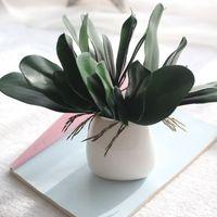 Wholesale light green leaf online - Home Furnishing Artificial Flower Moth Orchid Shape Decorate Wedding Ceremony Plastic Simulation Flowers Diy Potted Plant Fake Leaf ar jj