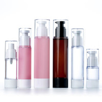 luftlose flaschen kosmetik großhandel-15 ml 30 ml Leere Airless Pumpe und Spray-flaschen Nachfüllbare Lotion Creme Kunststoff Kosmetische Flasche Dispenser Reisebehälter