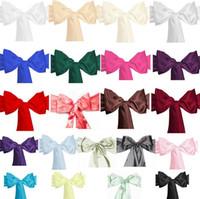 стул обтягивает атласные луки оптовых-100.39*5.91 дюймов атласный стул створки галстуки-бабочки для банкета свадьба бабочка ремесло крышка стула декор поставки 21 цветов