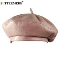 chapeau de peintre noir achat en gros de-BUTTERMERE Femmes Français Béret Chapeaux Rose En Cuir Peintres Chapeau Dames Casual Artiste Solide Cap Hommes Vintage Automne Bérets Noir Gris
