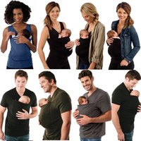 Wholesale vest carriers online - Women Men T shirt Mother Father Kangaroo Vest Parenting Child Tops Baby Carrier Kangaroo multi functional clothes FFA277 Maternity styles