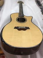 neue akustische akustikgitarren großhandel-2018 New + Factory + Körper geschnitten Chaylor akustische Gitarre alle echte Abalone solide Top ps14 elektrische akustische Gitarre Armlehne sp14