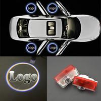 luzes auto fantasma venda por atacado-3D Porta Do Carro Do Laser CONDUZIU CÍRCULO Fantasma Sombra Luz Audi Logo Projetor Cortesia Luzes Auto Backlight Car Styling Lâmpada Bem-vindo
