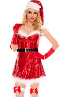 mulher sexy roupas de santa venda por atacado-Novo 2017 Trajes de Natal Quente Festiva Cosplay Sexy Sparkly Miss Santa Trajes LC7253 Ano Novo Roupas Para As Mulheres