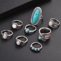 ingrosso anelli in boemia antichi-Anelli di pietra opale d'epoca geometrica Set per donna Bohemian argento antico colore Knuckle scudo Anelli Fashion Party Jewelry