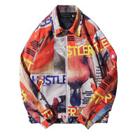 Wholesale zipper magazine - 2018 Hip Hop Magazine Printed Full Zip Up Jackets Mens Autumn Winter Casual Jacket Coats Streetwear Male Fashion Jacket