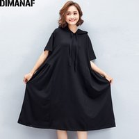 Wholesale draped hoodie - DIMANAF Women Summer Hoodies Dress Big Size Cotton Female Casual Black Hooded Vestidos Oversized Large Clothing 2018 Solid Dress